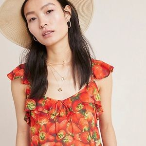 Anthropologie strawberry print top size 8 NEW